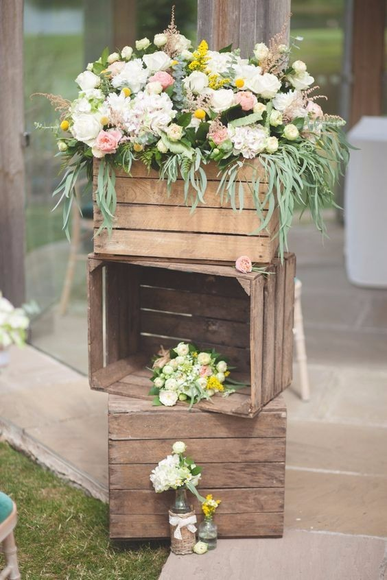 rustic chic fall wooden crates wedding decor