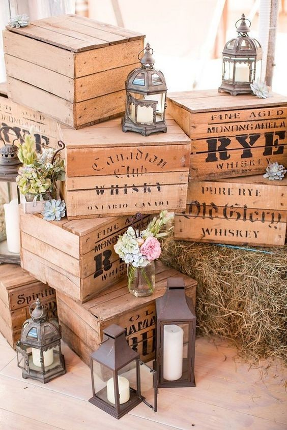 vintage rustic lantern wooden box wedding decor