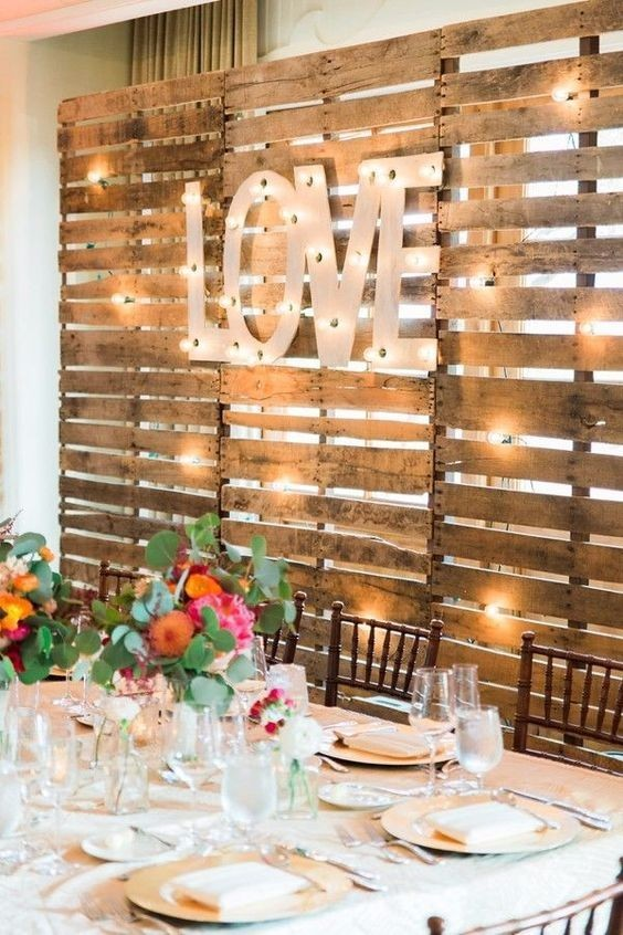 rustic love wood pallets backdrop wedding party