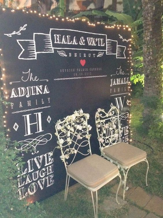 photobooth backdrop chalk calligraphy