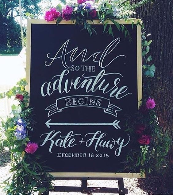 adventure on a stylish note Chalkboards and wedding signs