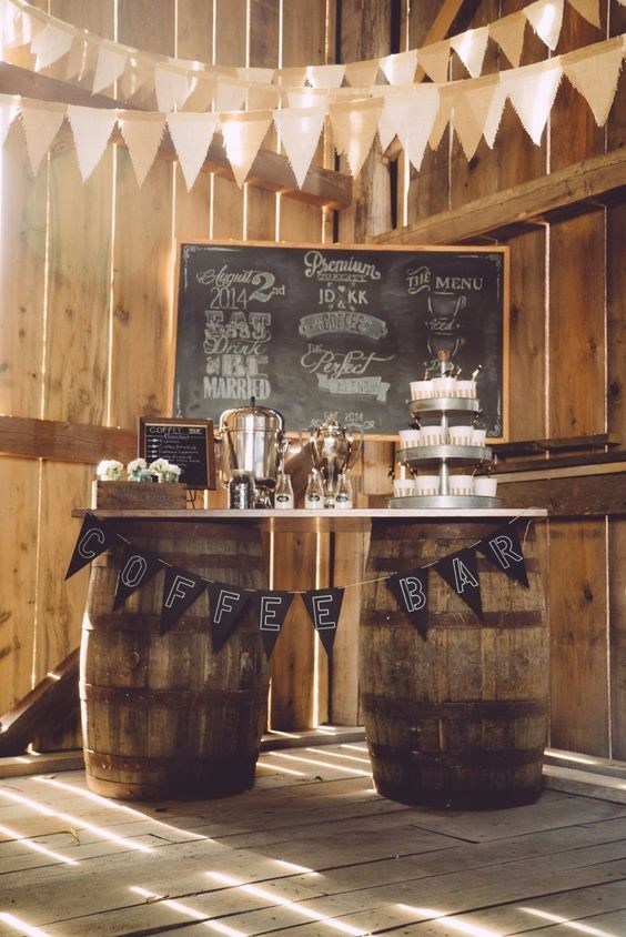 coffee bar banner chalk wedding decor